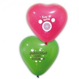 globo corazon con logo 33 cm